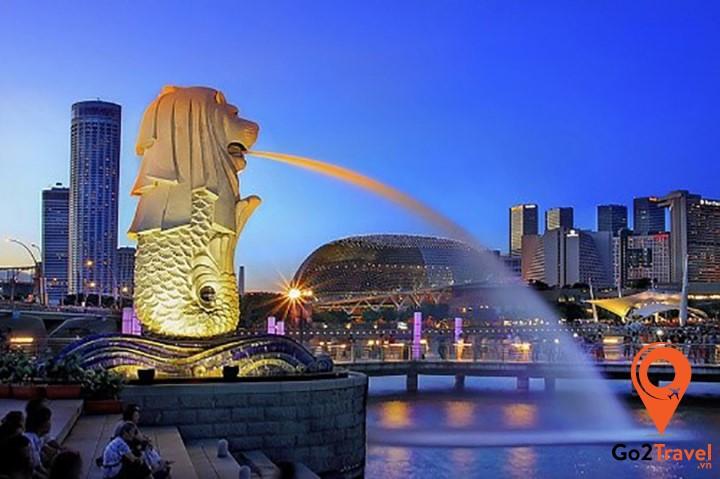 Tượng nhân sư Merlion nổi tiếng ở Singapore