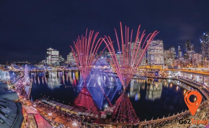 bến cảng Darling Harbour được hình thành từ một khu giải trí rộng lớn nằm bên ngoài khu trung tâm thương mại Sydney về phía tây