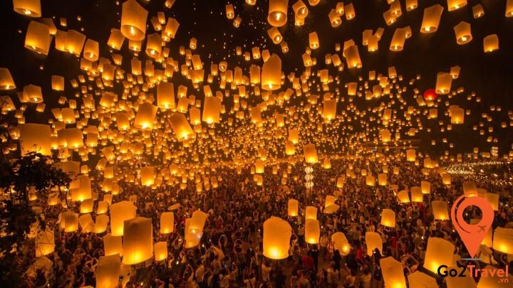 Lễ hội thả đèn trời vào dịp Tết ở Đài Loan luôn được thu hút rất nhiều người tham gia