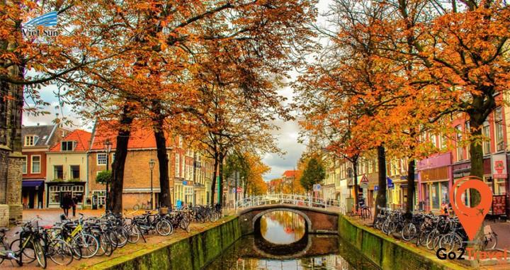 Mùa thu Hà Lan với cảnh sắc màu lá vàng đỏ
